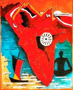 Mother India as depicted by M F Hussain